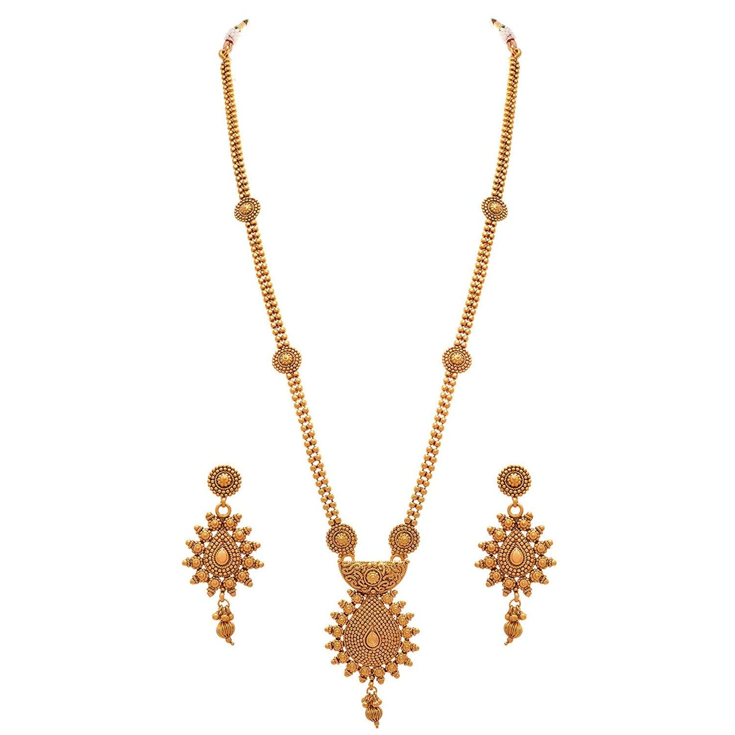 JFL- Jewellery For Less Traditional Ethnic One Gram Gold Plated Long Necklace Set With Earrings For Women