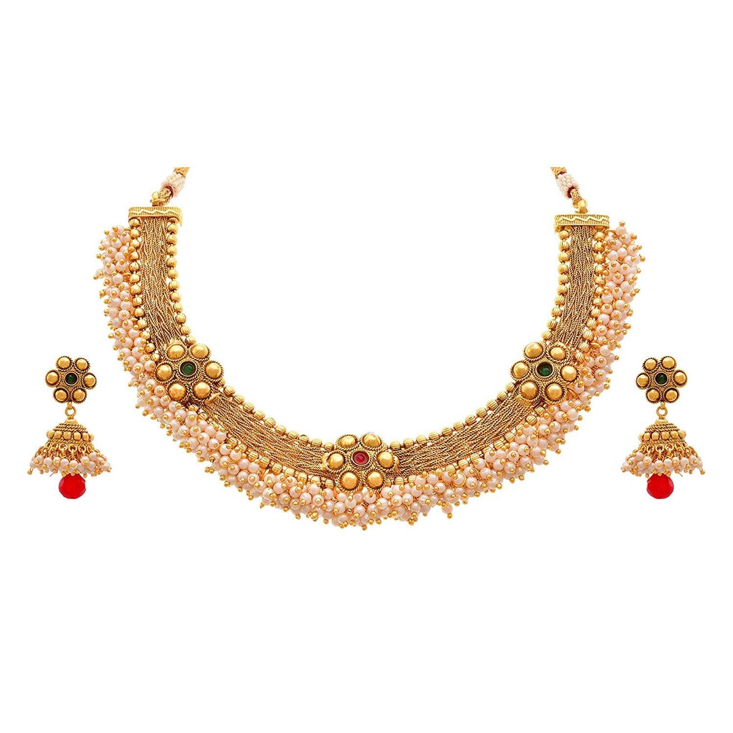 JFL - Traditional Ethnic One Gram Gold Plated Stone & Pearls Designer Necklace Set With Jhumka Earring for Women & Girls