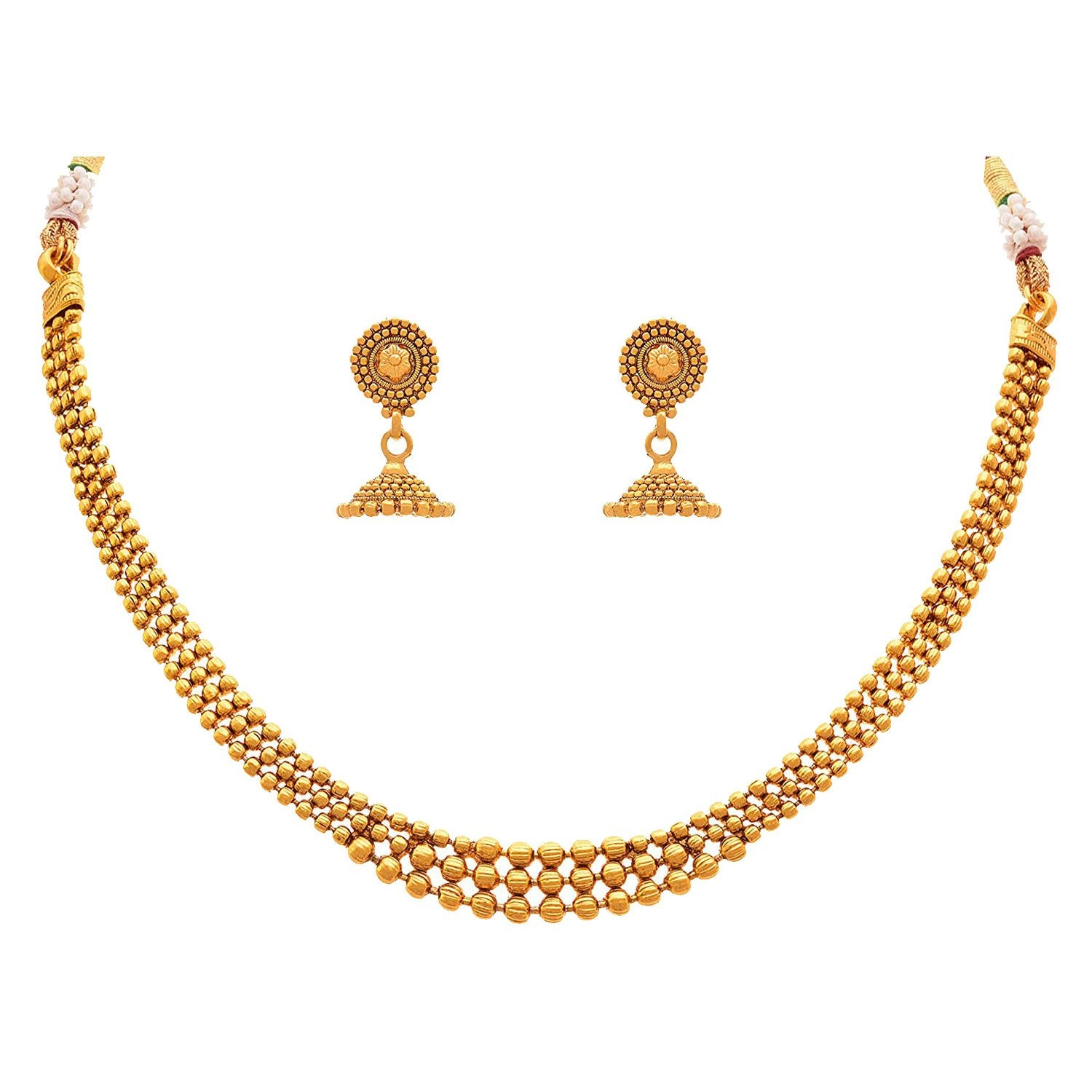 Traditional Ethnic One Gram Gold Plated Gold Beads Necklace Set With Jhumka Earrings For Women