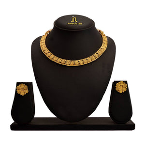 JFL - Jewellery for Less Traditional Ethnic One Gram Gold Plated Spiral Designer Necklace Set With Earring for Women & Girls