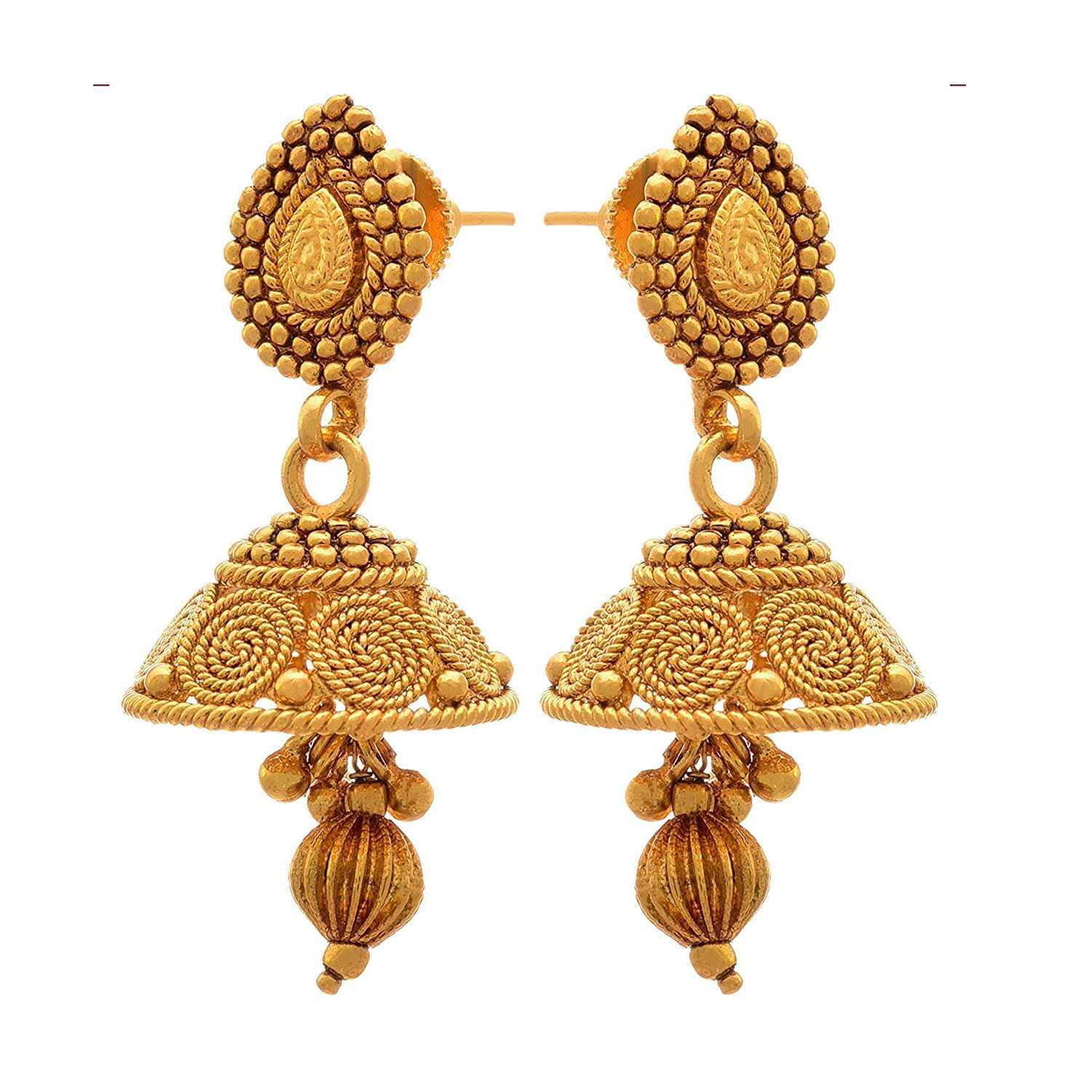 JFL- Jewellery For Less Traditional Ethnic One Gram Gold Plated Spiral Necklace Set / Jewellery Set With Jhumka Earrings For Women