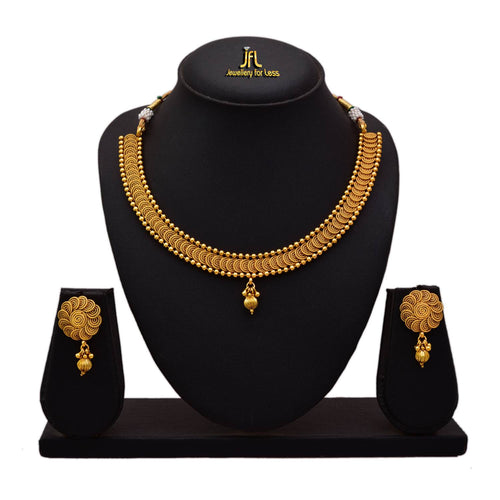 JFL - Jewellery for Less Traditional Ethnic Gold Plated Spiral Necklace Set for Women & Girls