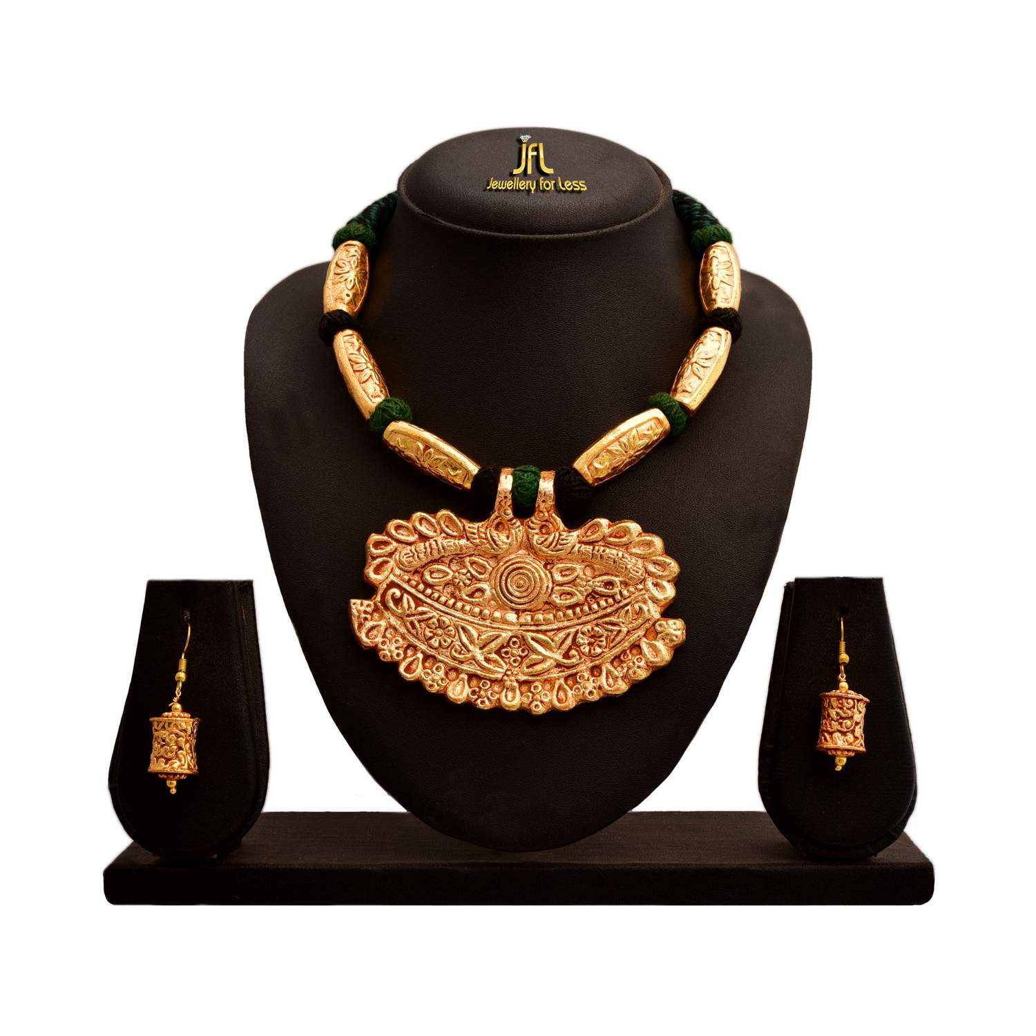 JFL - Traditional Ethnic One Gram Gold Plated Designer Necklace Set with Earring for Women & Girls