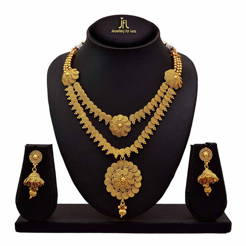 BFC - Buy For Change Ethnic Copper With One Gram Gold Plated Gold Multilayer Necklace Set with jhumka For Women's