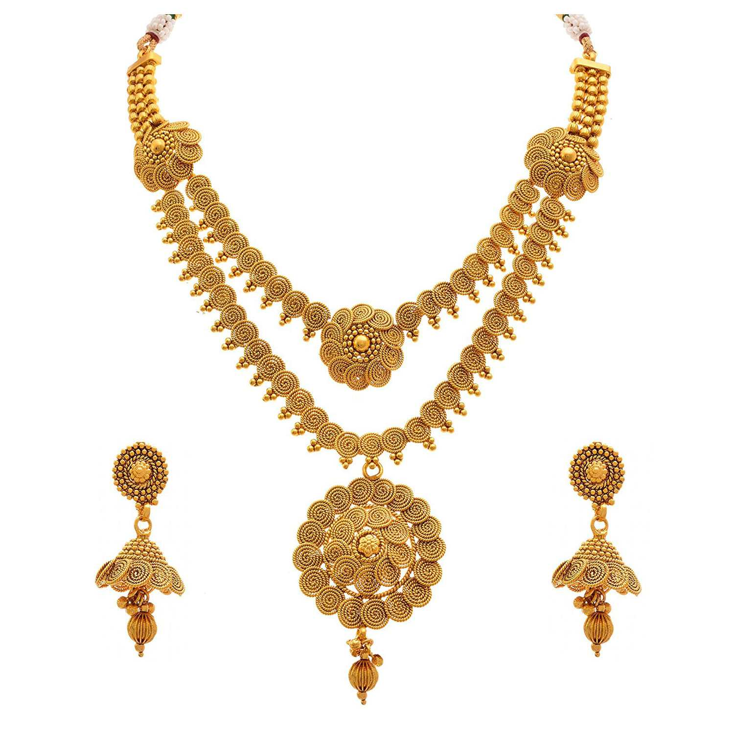 Traditional Ethnic Multi Strand One Gram Gold Plated Spiral Necklace Set / Jewellery Set For Women