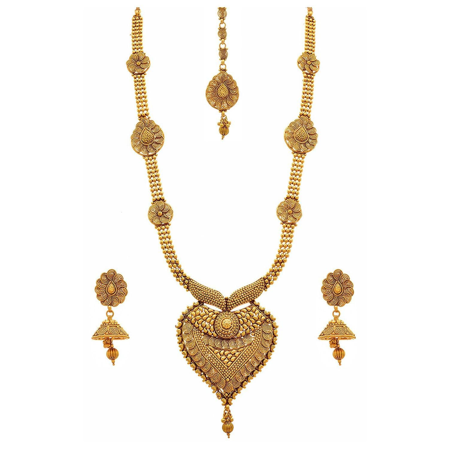 Traditional Ethnic One Gram Gold Plated Spiral Designer Long Necklace Set / Jewellery Set With Jhumka Earrings For Women