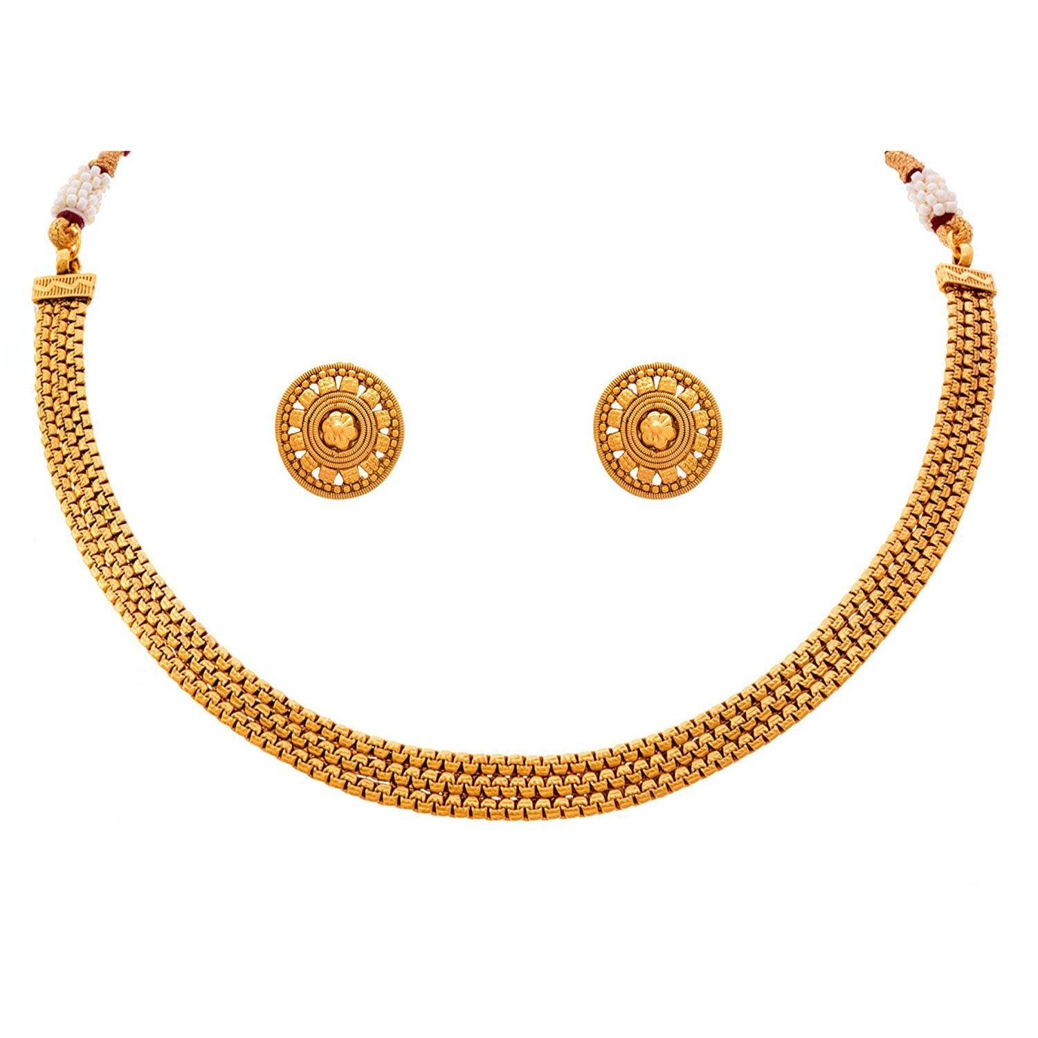 Traditional Ethnic One Gram Gold Plated Designer Patta Necklace Set with Stud Earring for Women