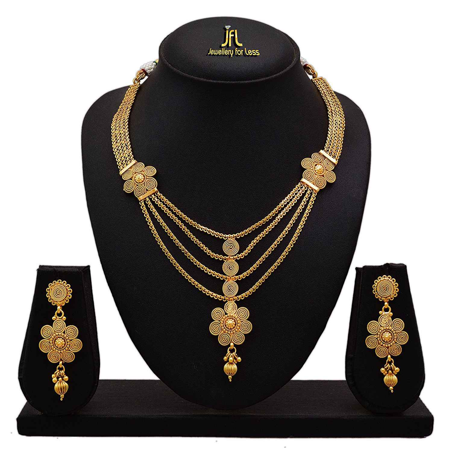 Traditional Ethnic One Gram Gold Plated Spiral Designer Necklace Set with Earring for Women