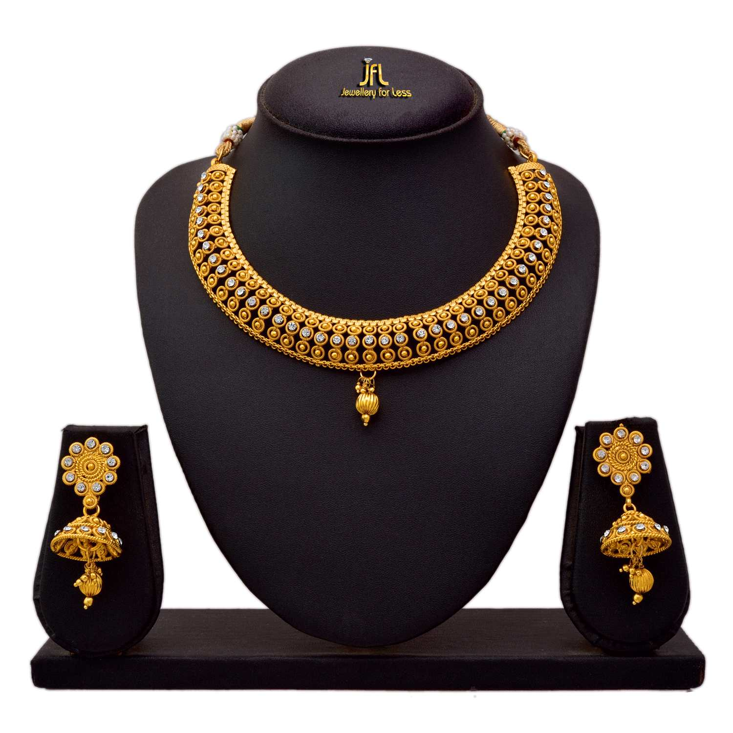 JFL - Traditional Ethnic One Gram Gold Plated Austrian Diamond Bead Designer Necklace Set with Earring for Women & Girls
