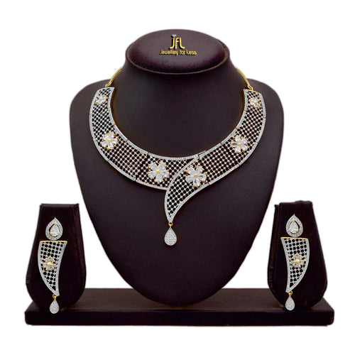 JFL - Traditional Ethnic One Gram Gold Plated American Diamond Designer Necklace Set with Earrings for Women & Girls