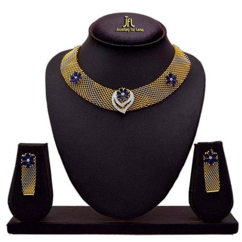 JFL - Fusion Ethnic One Gram Gold Plated Cz American Diamonds Designer Necklace Set for Women & Girls