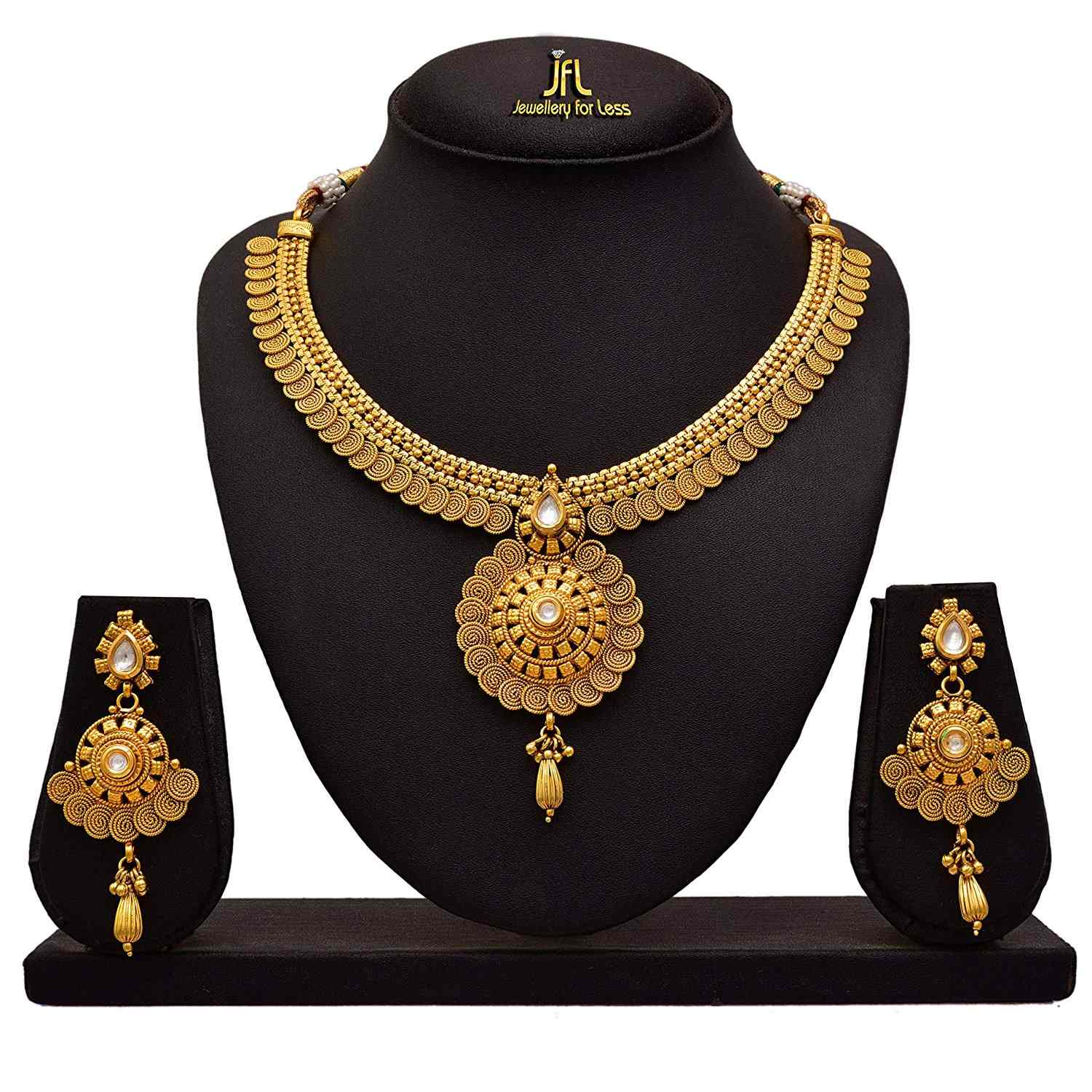 Traditional Ethnic Spiral One Gram Gold Plated Real Kundan Necklace Set With Earrings For Women