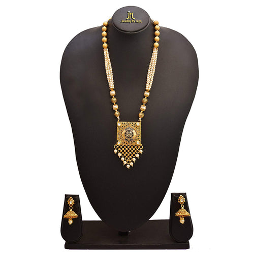 JFL - Traditional Ethnic One Gram Gold Plated Pearl Designer Necklace Set with Earring for Women and Girls.
