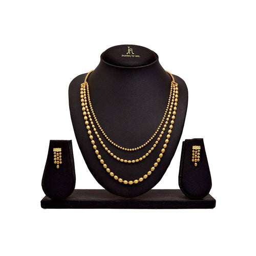 JFL - Jewellery for Less Gold Plated Multi Strands Oval Beaded Necklace Set with Earrings for Women & Girls