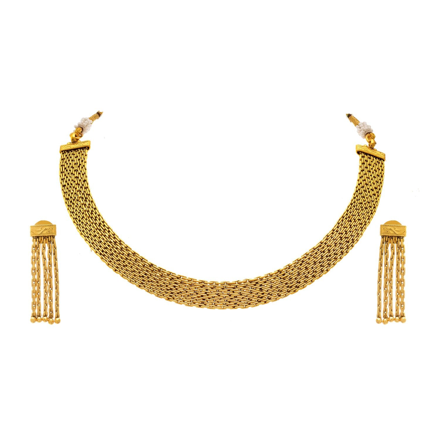JFL - Traditional Ethnic One Gram Gold Plated Designer Patta Necklace Set for Women & Girls