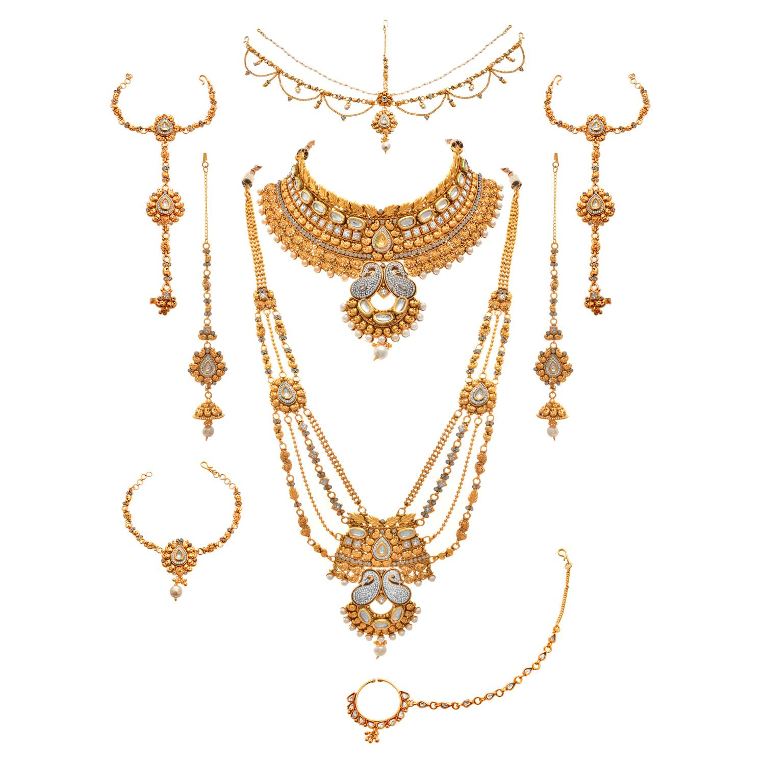 JFL - Traditional Ethnic One Gram Gold Plated Austrian & American Diamond Pearl Real Kundan Kaerie Designer Bridal Dulhan Necklace Set For Women & Girls