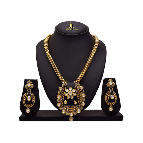 JFL - Traditional Ethnic One Gram Gold Plated Kundan Designer Necklace Set with Earring for Girls and Women