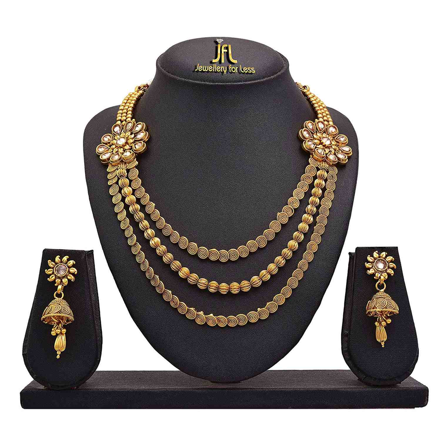 JFL - Traditional Ethnic One Gram Gold Plated Polki Spiral Bead Designer Necklace Set with Earring for Girls and Women