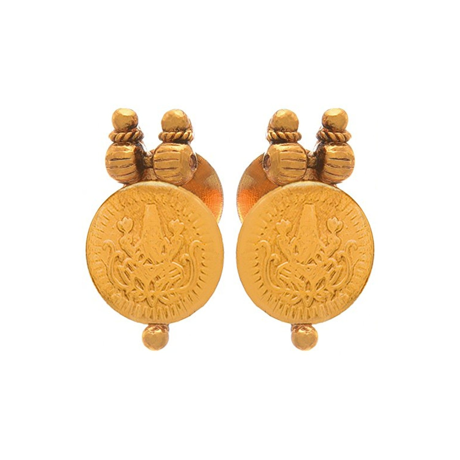 JFL-Jewellery For Less Traditional Ethnic Temple Laxmi Goddess Coin One Gram Gold Plated Designer Necklace Set For Women And Girls