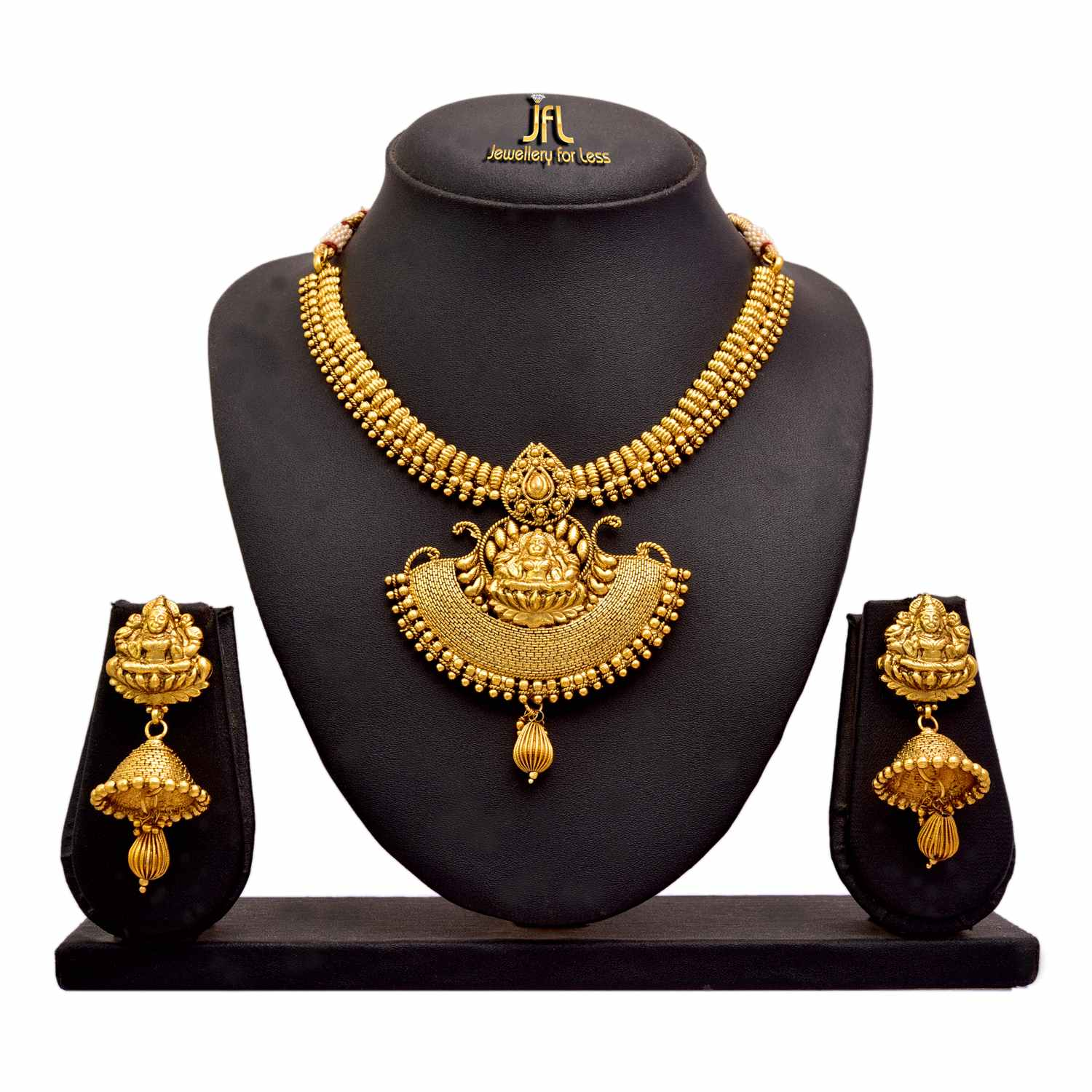JFL - Jewellery For Less Traditional Ethnic Temple Goddess Laxmi One Gram Gold Plated Necklace Set Jhumka Earring For Women