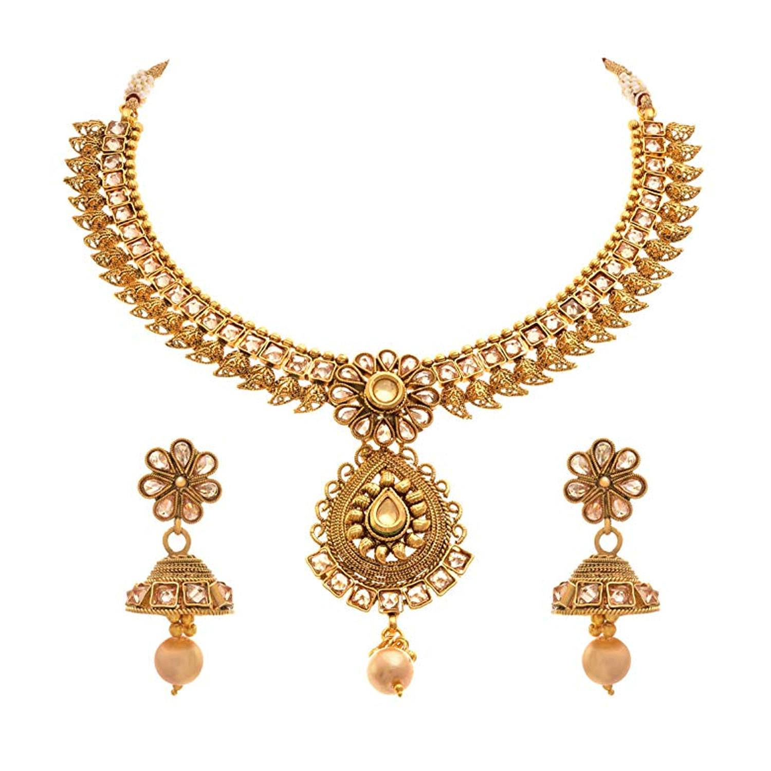 JFL - Traditional Ethnic One Gram Gold Plated Kundan Polki Designer Necklace Set / Jewellery Set for Women & Girls