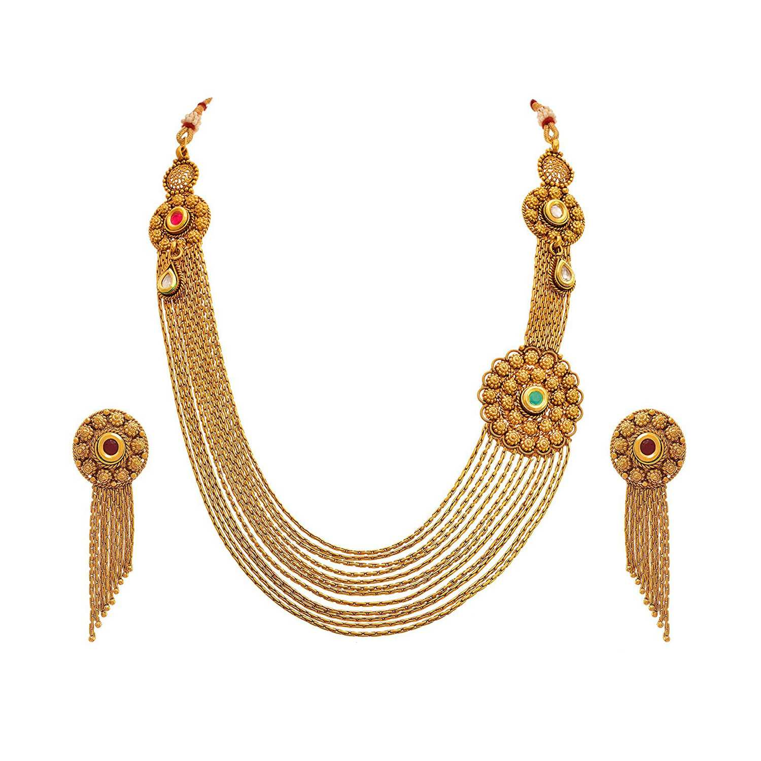 Traditional Ethnic One Gram Gold Plated Kundan Designer Necklace Set with Earring for Women