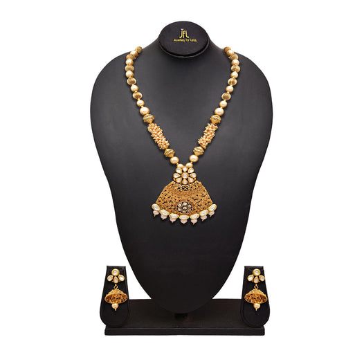 JFL - Traditional Ethnic One Gram Gold Plated Real Kundan LCD Champagne Pearl Designer Necklace Set with Jhumka Earring for Girls and Women