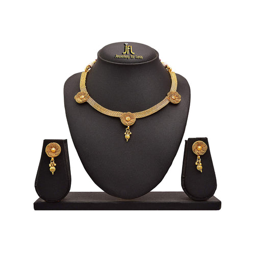 JFL - Traditional Ethnic Spiral Floral One Gram Gold Plated Designer Necklace Set with Earrings for Women & Girls