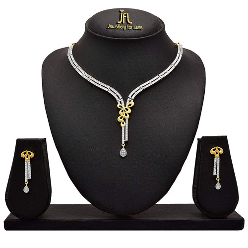 Fusion Ethnic Indo-Western Leaf One Gram Gold Plated Cz Cubic Zircon American Diamond Designer Necklace Set for Women