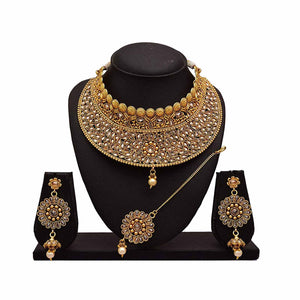 JFL - Traditional Ethnic One Gram Gold Plated Polki Diamonds Designer Semi Bridal Necklace Set for Women & Girls.