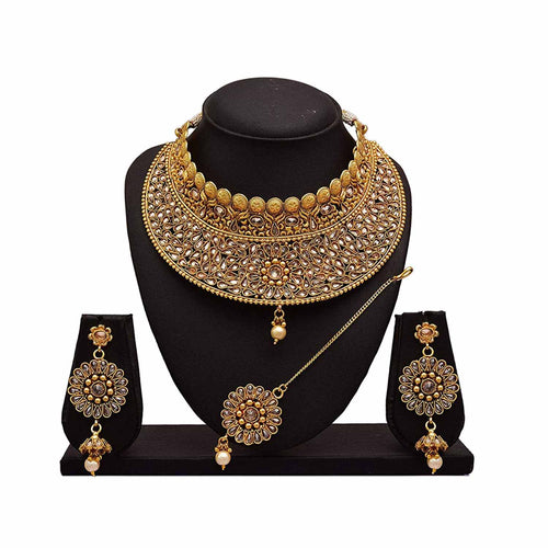 JFL - Traditional Ethnic One Gram Gold Plated Polki Diamonds Designer Semi Bridal Dulhan Necklace Set for Women & Girls.