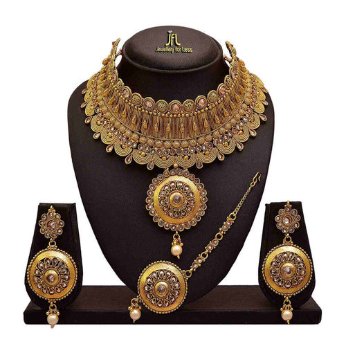 Traditional Ethnic One Gram Gold Plated Polki Diamonds Designer Semi Bridal Dulhan Necklace Set for Women