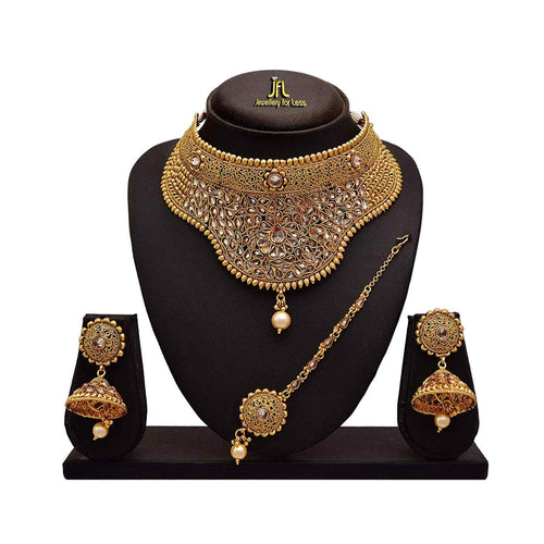 Traditional Ethnic One Gram Gold Plated Polki Diamond Pearl Designer Semi Bridal Dulhan Necklace Set / Jewellery Set for Women