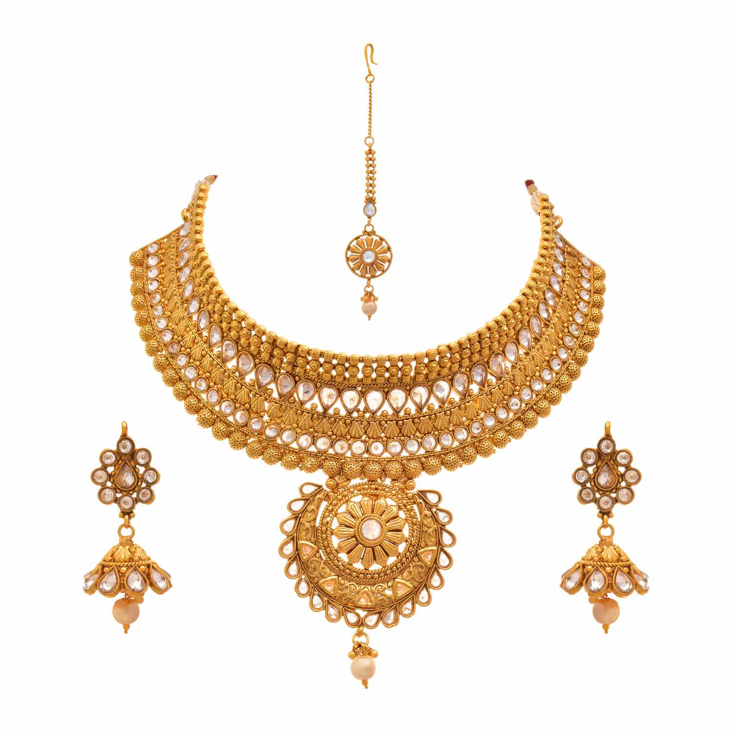 Traditional Ethnic One Gram Gold Plated Polki Diamonds Designer Semi Bridal Dulhan Necklace Set / Jewellery Set for Women