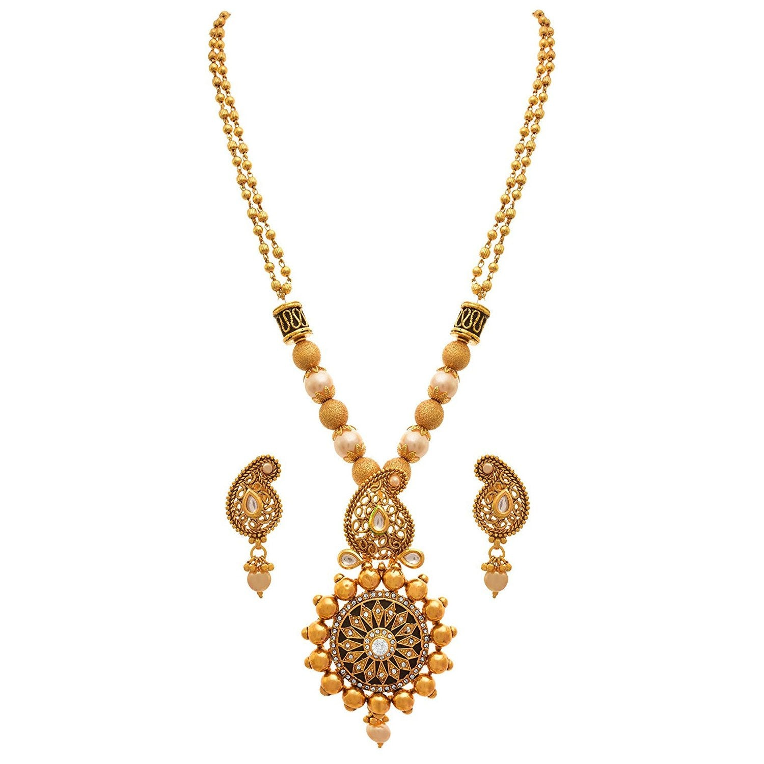 JFL - Traditional Ethnic One Gram Gold Plated Pearl Kundan Diamond Designer Necklace Set with Earring for Women and Girls.