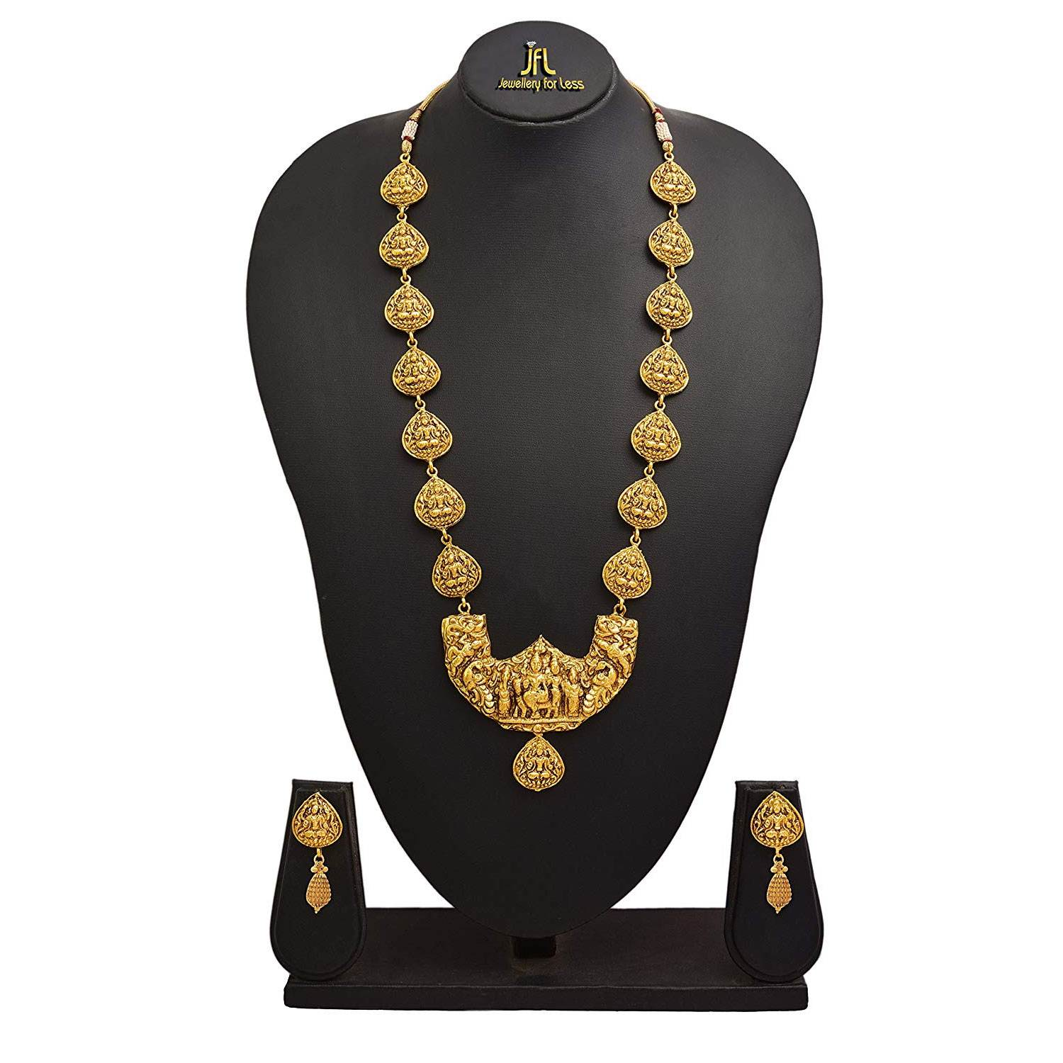 JFL - Traditional Ethnic Temple Goddess Shiva Family One Gram Gold Plated Necklace Set With Earring for Women