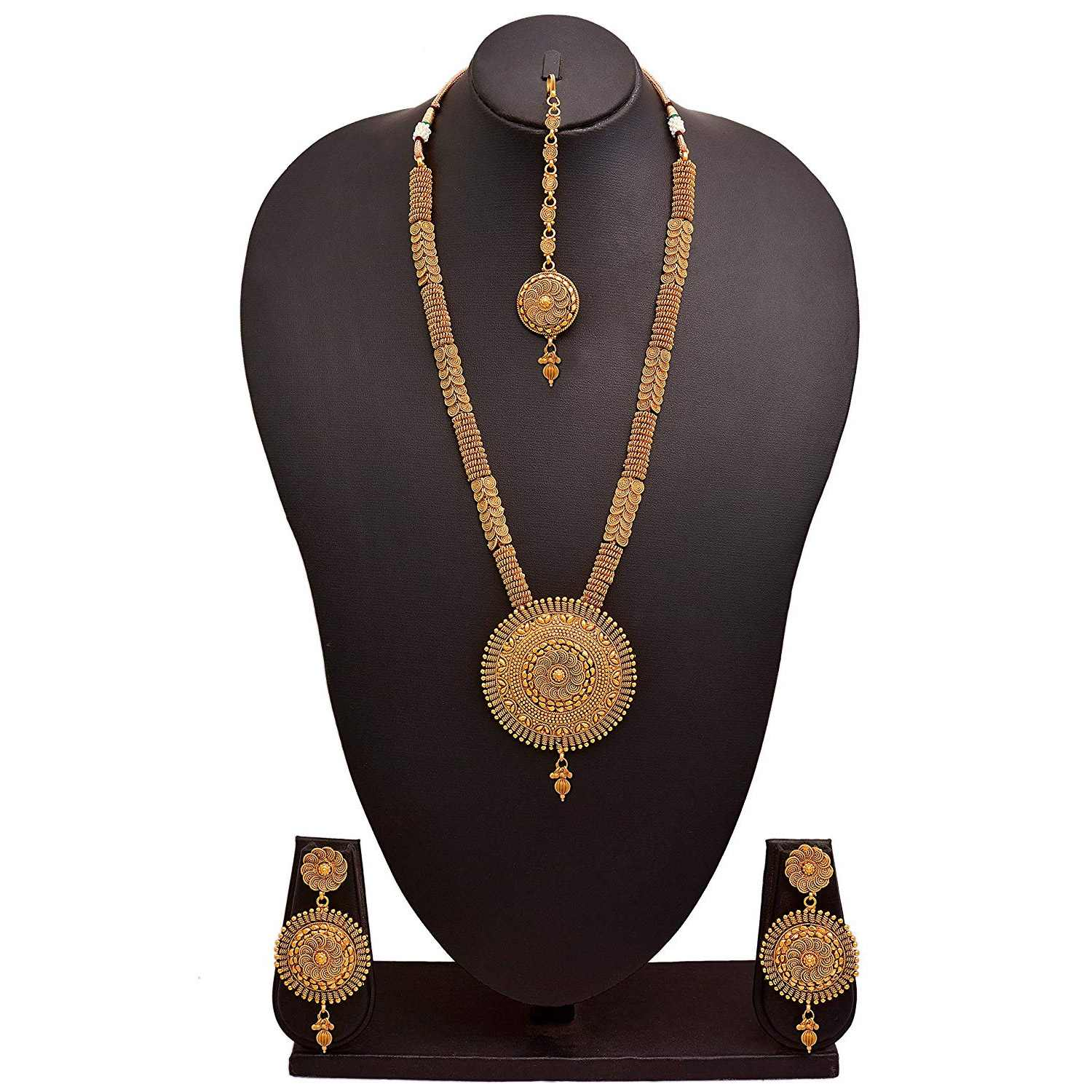 Jfl - Jewellery For Less Traditional Ethnic One Gram Gold Plated Spiral Designer Long Necklace Set With Earrings For Women & Girls.