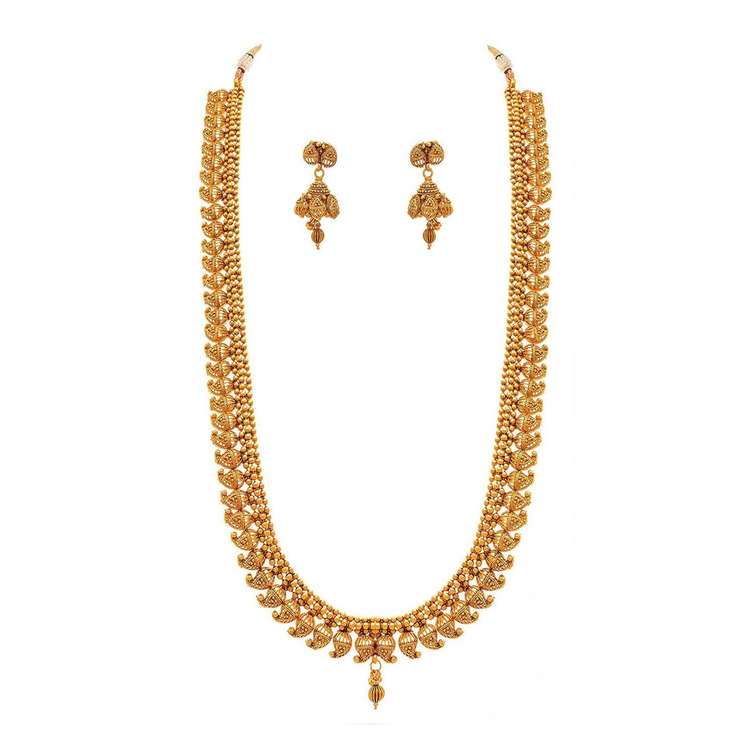 Traditional Ethnic One Gram Gold Plated Kaerie Long Necklace Set With Earring For Women