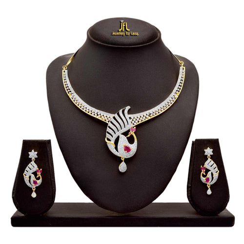 JFL - Jewellery For Less Fusion Ethnic One Gram Gold Plated Cz American Diamonds Peacock Necklace Set For Women