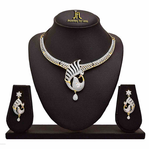 Fusion Ethnic One Gram Gold Plated American Cubic Zircon Diamond Peacock Designer Necklace Set With Earring For Women