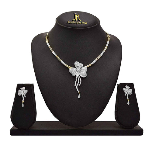 JFL - Fusion Ethnic One Gram Gold Plated American Cubic Zircon Diamond Designer Necklace Set With Earring For Women & Girls.