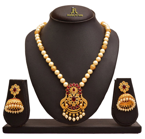 JFL - Traditional Ethnic One Gram Matt Gold Plated Peacock Stone & Pearls Designer Necklace Set with Jhumka Earring for Women & Girls.
