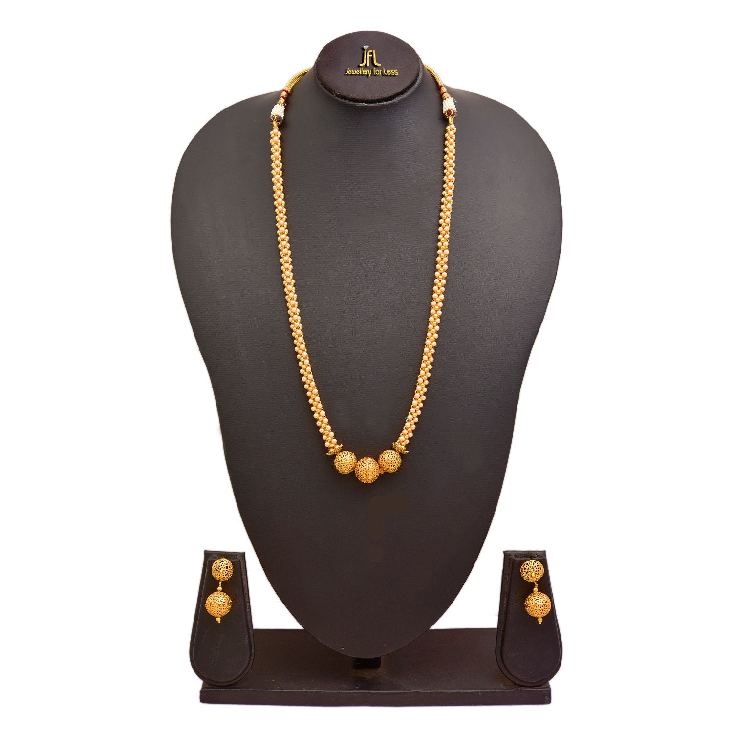 JFL - Traditional Ethnic One Gram Gold Plated Pearls Designer Necklace Set With Earring for Women & Girls