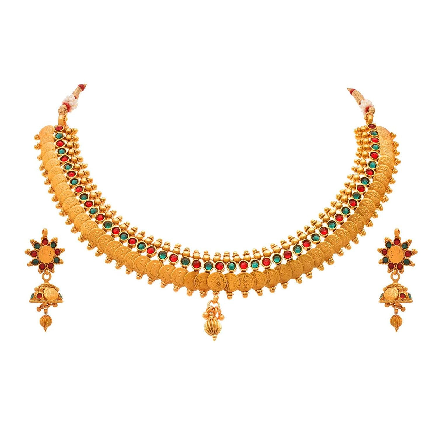 JFL - Traditional Ethnic One Gram Gold Plated Temple Laxmi Goddess Stone Designer Necklace Set with Jhumka Earring for Women & Girls.