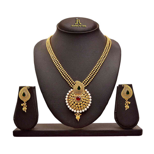 Traditional Ethnic One Gram Gold Plated Pearls and Stones Designer Necklace Set for Women