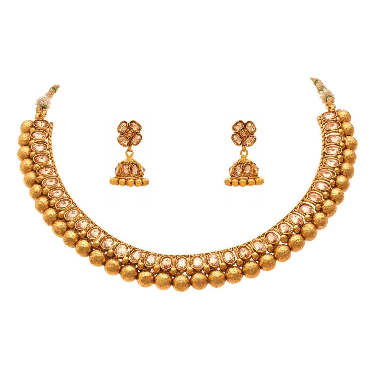 Traditional Ethnic One Gram Gold Plated LED Champagne Diamond Designer Necklace Set for Women