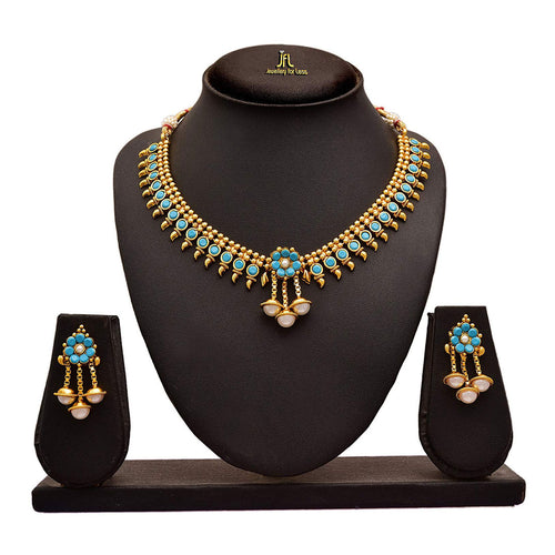 JFL - Jewellery for Less Traditional Ethnic Gold Plated Turquoise Blue Designer Necklace Set Studded with Pearls for Women