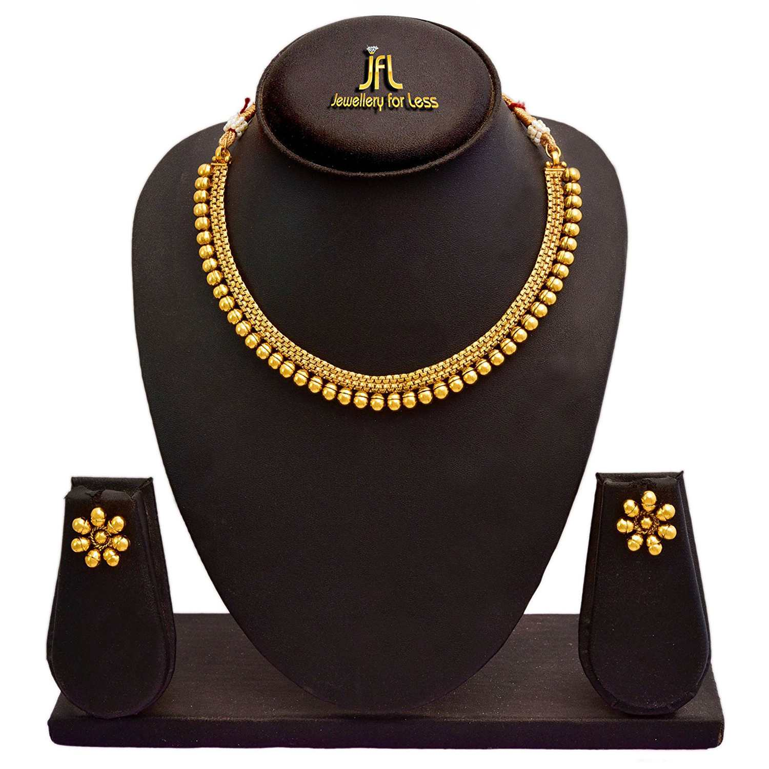Traditional Ethnic One Gram Gold Plated Bead Designer Necklace Set With Stud Earrings For Women