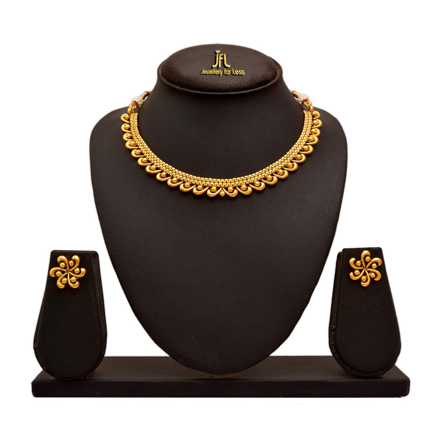 JFL - Jewellery For Less Traditional And Ethnic One Gram Gold Plated Necklace Set With Earring For Women