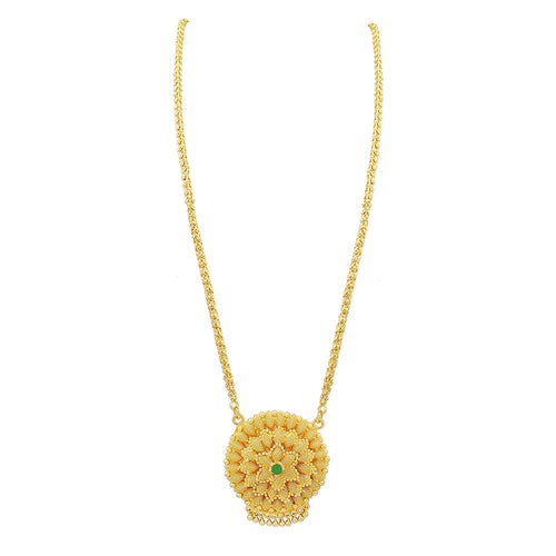 Bfc One Gram Gold Plated Green Diamond Flower Designer Long Chain Necklace for Women